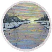 Winter Expression Sunrise Round Beach Towel