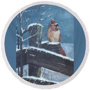 Winter Female Cardinal Round Beach Towel