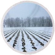 Winter Field Round Beach Towel