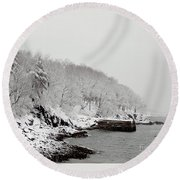 Winter Finery Round Beach Towel