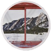 Winter Flatirons Boulder Colorado Red Barn Picture Window Frame  Round Beach Towel by James BO  Insogna