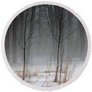 Winter Fog Round Beach Towel