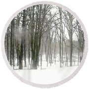 Winter Fog Round Beach Towel