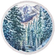 Winter Forest And Mountains Round Beach Towel