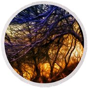Winter Forest Sunset Oil Style Round Beach Towel