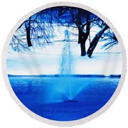 Winter Fountain 2 Round Beach Towel