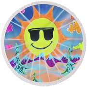 Winter Fun Round Beach Towel