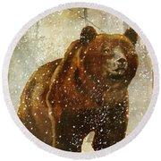Winter Game Bear Round Beach Towel
