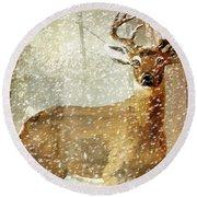 Winter Game Deer Round Beach Towel