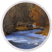 Winter Gold On The Yakima River Round Beach Towel