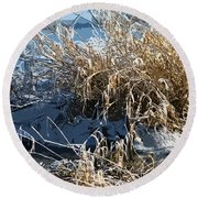Winter Grass Round Beach Towel