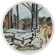 Winter Grazing  Round Beach Towel by Charlotte Blanchard