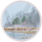Winter Hoarfrost On The River Round Beach Towel