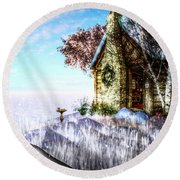 Winter Home Round Beach Towel