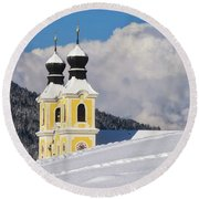 Winter Illusion Round Beach Towel