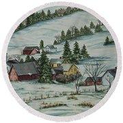Winter In East Chatham Vermont Round Beach Towel