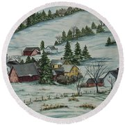 Winter In East Chatham Vermont Round Beach Towel