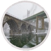 Winter In East Falls Along The Schuylkill River Round Beach Towel