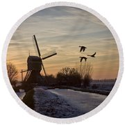 Winter In Holland-1 Round Beach Towel