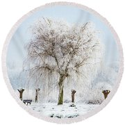 Winter In Holland Round Beach Towel