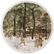 Winter In Kensington Gardens Round Beach Towel