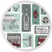 Winter In London Round Beach Towel