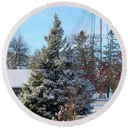 Winter In Pequot Lakes Round Beach Towel