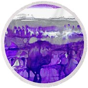 Winter In Purple And Silver Round Beach Towel