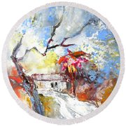 Winter In Spain Round Beach Towel