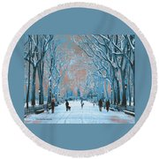 Winter In The City Park Round Beach Towel