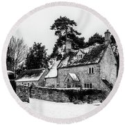 Winter In The Cotswolds Round Beach Towel