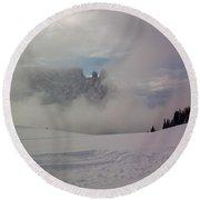 Winter In The Dolomite Alps Round Beach Towel