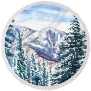 Winter In The Mountains  Round Beach Towel