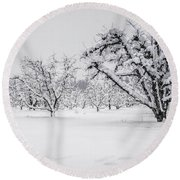 Winter In The Orchard Round Beach Towel
