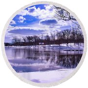 Winter In The Park Round Beach Towel