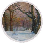 Winter In The Wood Round Beach Towel