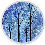 Winter In The Woods Abstract Round Beach Towel