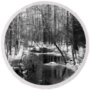 Winter In The Woods Round Beach Towel