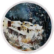 Winter In Vivy  Round Beach Towel