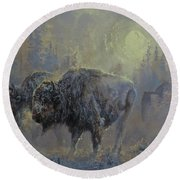 Winter In Yellowstone Round Beach Towel