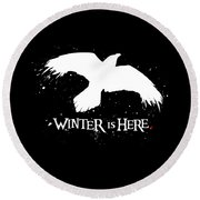 Winter Is Here - Large Raven Round Beach Towel