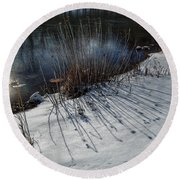 Winter Lake View Round Beach Towel