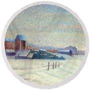 Winter Landscape 1885 Round Beach Towel