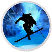 Winter Landscape And Freestyle Skier Round Beach Towel