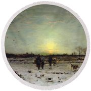 Winter Landscape At Sunset Round Beach Towel by Ludwig Munthe