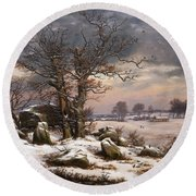 Winter Landscape. Near Vordingborg Round Beach Towel
