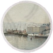 Winter Landscape Over Skeppsbron, Stockholm Round Beach Towel