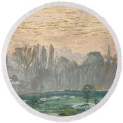 Winter Landscape With Evening Sky Round Beach Towel