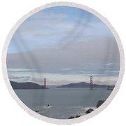 Winter Landscape With Golden Gate Bridge Round Beach Towel