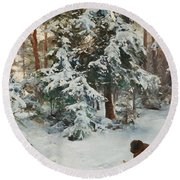 Winter Landscape With Hunters And Dogs Round Beach Towel